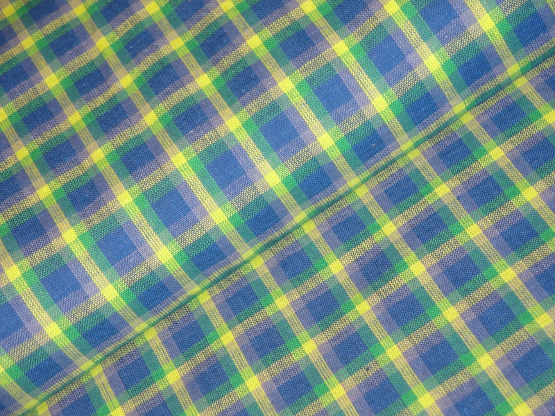 Homespun Plaid Fabric Blue Lime Aqua Lavender Sold By The Yard - product image