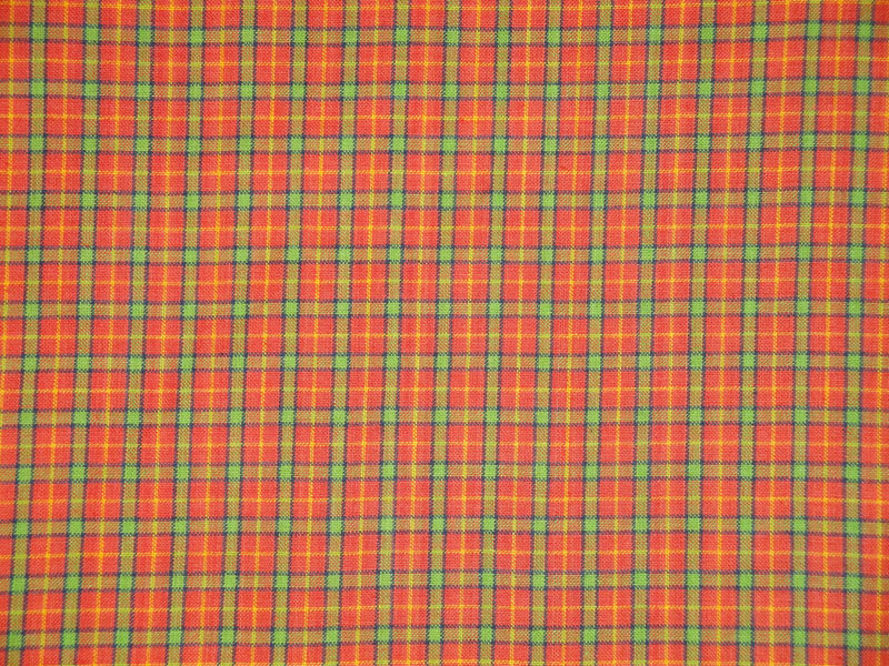 Orange Plaid Homespun Material Sold By The Yard - product image