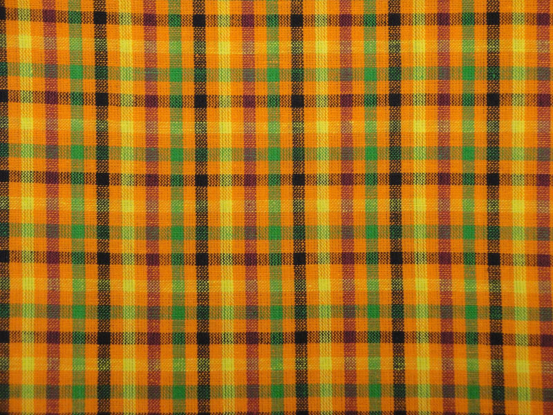 Cotton Homespun Check Fabric Orange Fushsia Yellow Navy And Green Sold By The Yard - product image