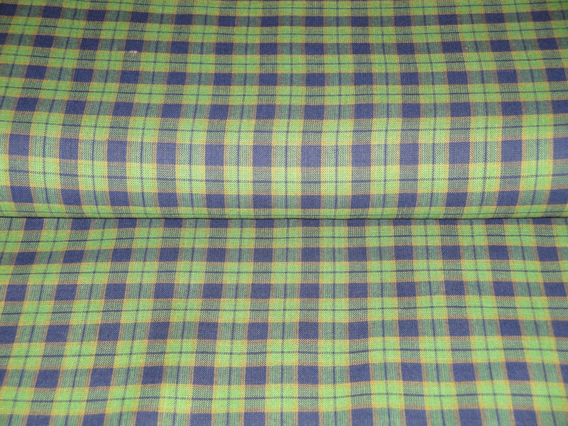 Homespun Material Cotton Navy And Green Plaid 1 Yard - product image