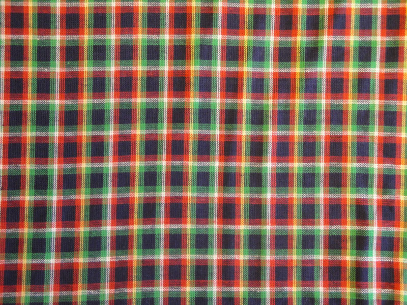 Plaid Homespun Fabric Navy Green White And Yellow Sold By The Yard - product image