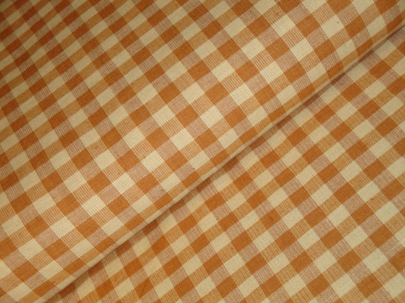 Large Check Light Brown Cotton Homespun Fabric Sold By The Yard - product image