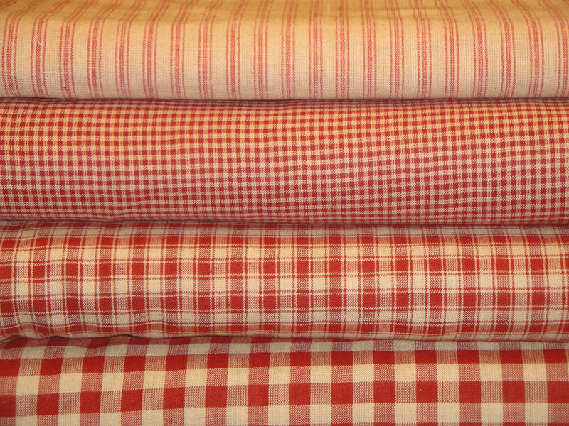 Red Stripe Homespun Ticking Fabric Sold By The yard - product image