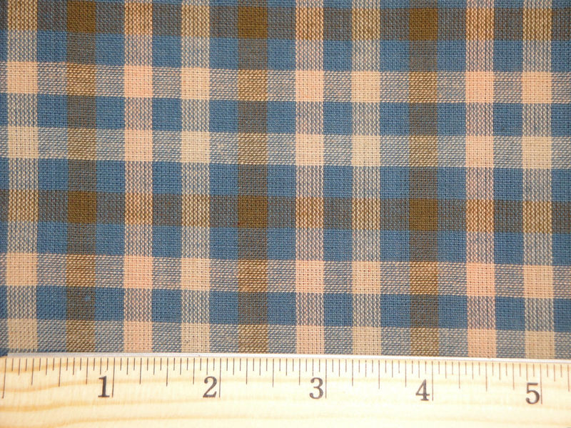 Homespun Fabric Blue Natural And Khaki Sold By The Yard  - product image