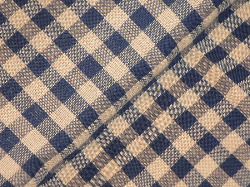 Navy Large Check Homespun Fabric Sold By The Yard - product image