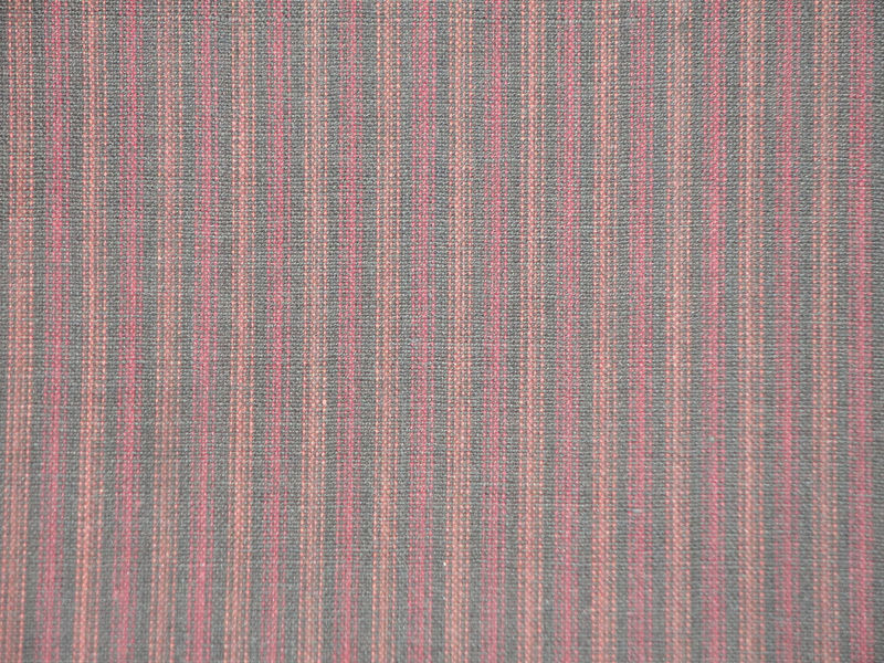 Ticking Stripe Homespun Fabric Black And Wine Sold By The Yard - product image