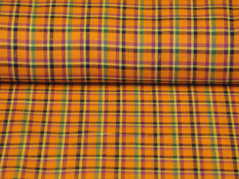 Plaid Homespun Material Orange Fushsia Yellow Navy And Green Sold By The Yard - product image