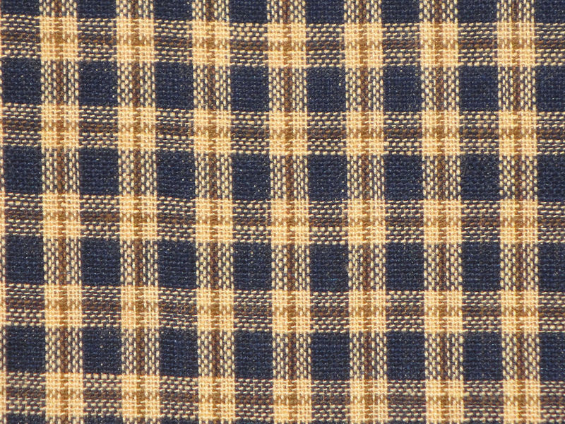 Navy Gold Natural Plaid Cotton Homespun Material Sold By The Yard - product image