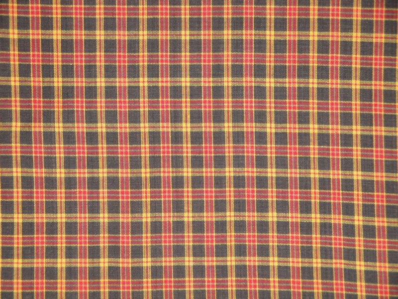 Brown Gold Red Plaid Homespun Material Sold By The Yard - product image