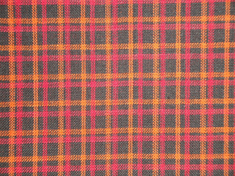 Black Orange Red Plaid Homespun Fabric Sold By The Yard - product image