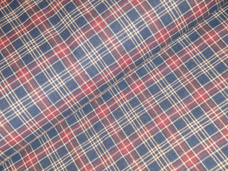 Navy Wine Tan Plaid Homespun Material Sold By The Yard - product image
