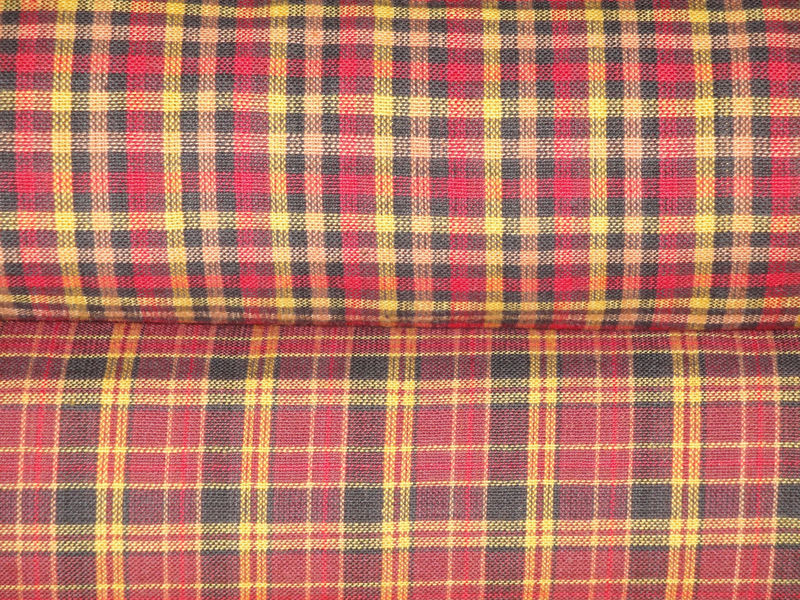 Wine Plaid Homespun Material Sold By The Yard  - product image