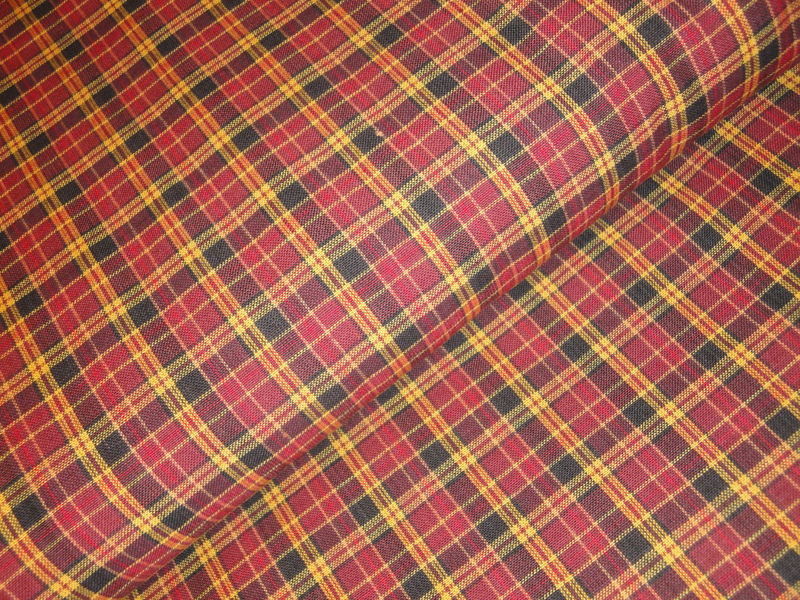 Plaid Homespun Material Wine Black And Gold Sold By The Yard - product image