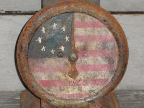 Hand,Painted,Primitive,Tin,Americana,Kitchen,Scale,americana tin scale, old scale, tin scale, kitchen scale