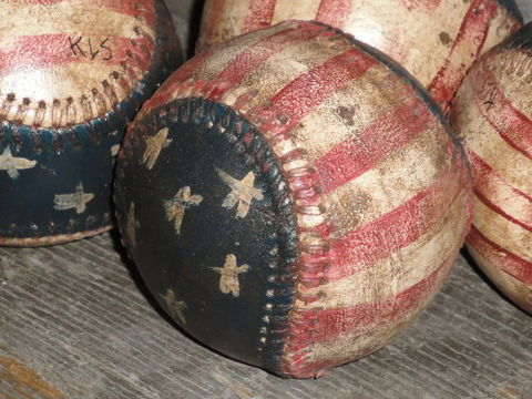American,Flag,Baseball,Hand,Painted