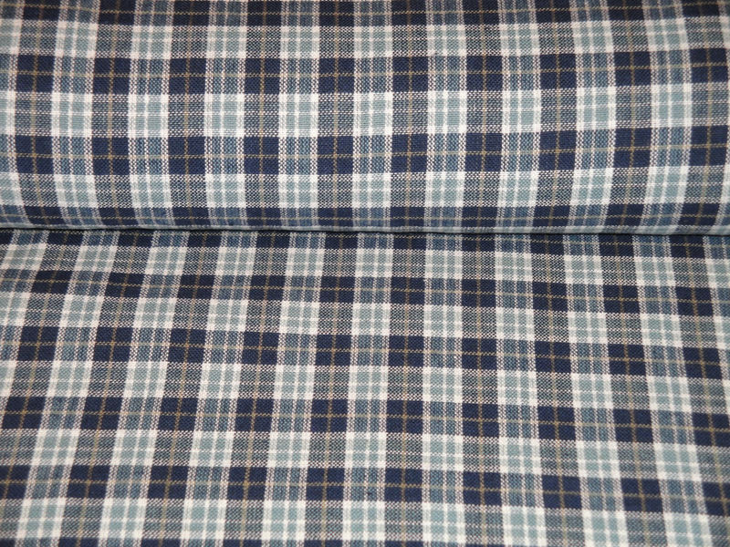Small Plaid Cotton Homespun Material Navy Light Blue Tan White Sold By The Yard  - product image
