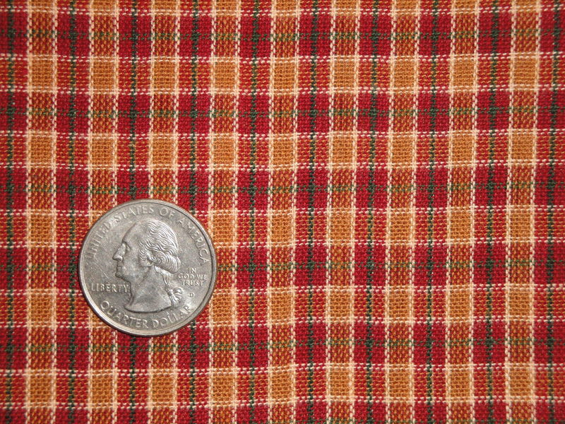 Cotton Homespun Material Wine Green Sand White Small Plaid Sold By The Yard - product image