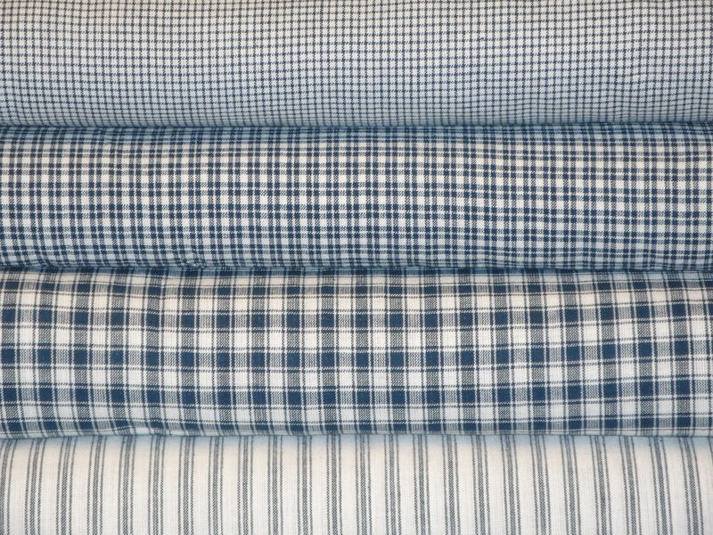 Small Plaid Homespun Fabric Blue And White Sold By The Yard  - product image