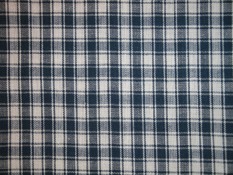Plaid Homespun Fabric Blue And White Sold By The Yard  - product image