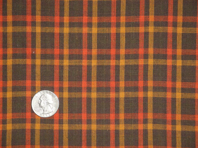 Brown Large Plaid Homespun Material Sold By The Yard - product image