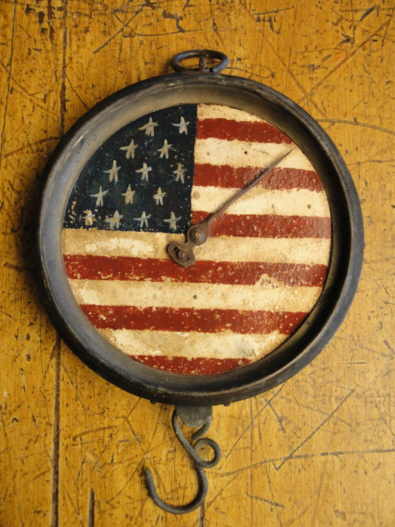 Antique Hanging Kitchen Scale Handpainted Americana With Stars And Stripes - product image