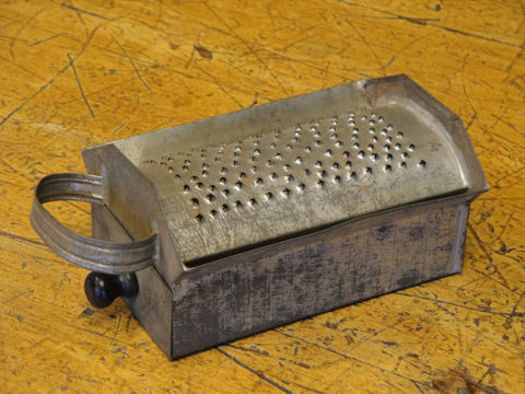 Antique,Tin,Box,Grater,With,Strap,Handle,And,Drawer,old grater, antique grater, vintage grater, old box grater, kitchen collectible