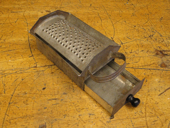 Antique Tin Box Grater With Strap Handle And Drawer - product image