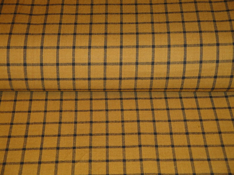Pumpkin Spice Woven Cotton Homespun Window Pane Fabric 1 Yard - product image