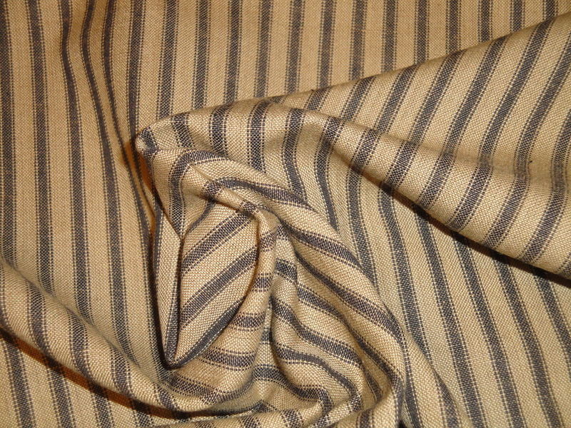Tea Dye And Black Cotton Homespun Ticking Stripe Fabric  - product image