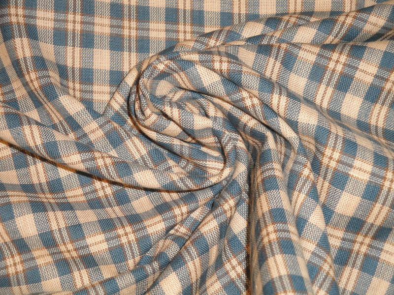 Homespun Cotton Fabric Blue Khaki And Natural Small Plaid Sold By The Yard - product image
