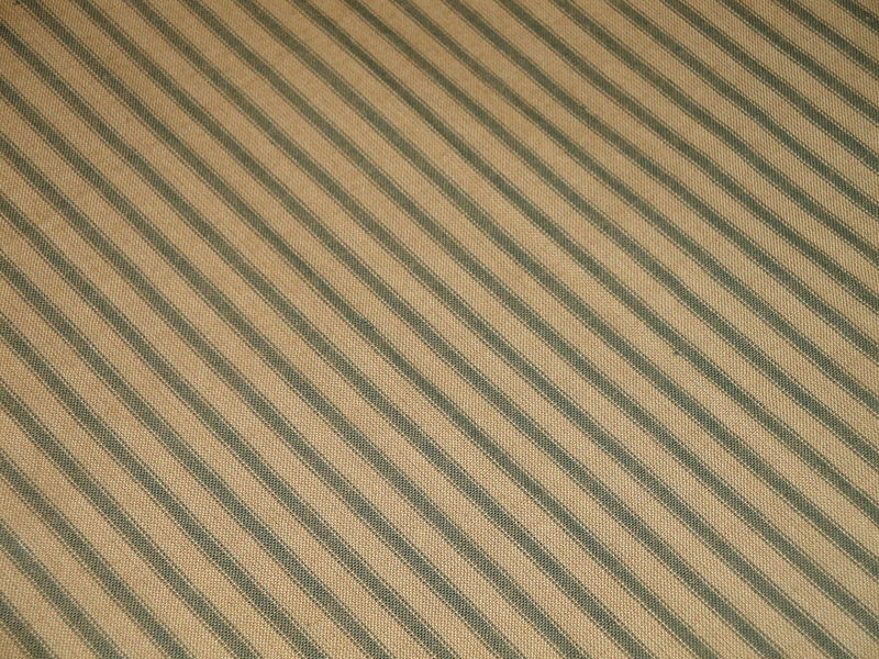 Tea Dye And Green Cotton Homespun Ticking Stripe Fabric Sold By The Yard - product image