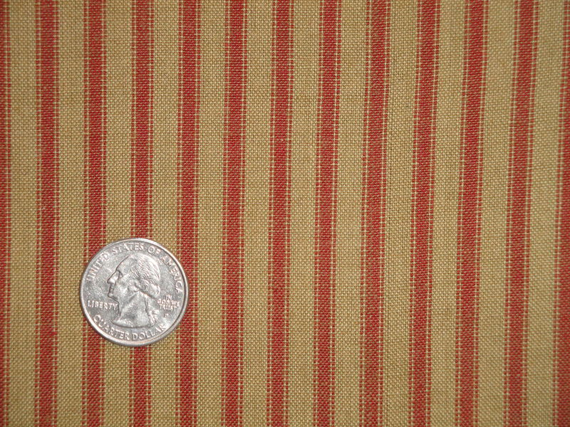 Tea Dye And Red Cotton Homespun Ticking Stripe Material Sold By The Yard - product image