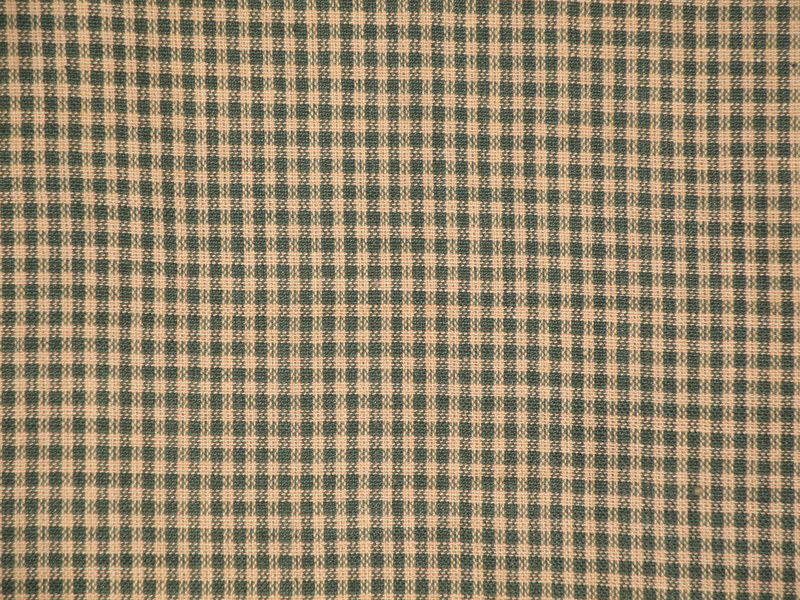 Green And Tan Small Check Cotton Homespun Fabric Sold By The Yard - product image