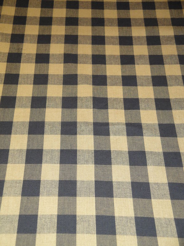 Black And Tea Dye Cotton Homespun Buffalo Check Fabric  - product image