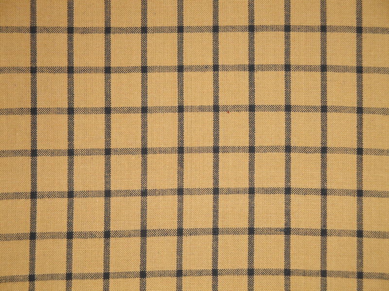 Mustard And Black Cotton Homespun Window Pane Fabric 1 Yard - product image