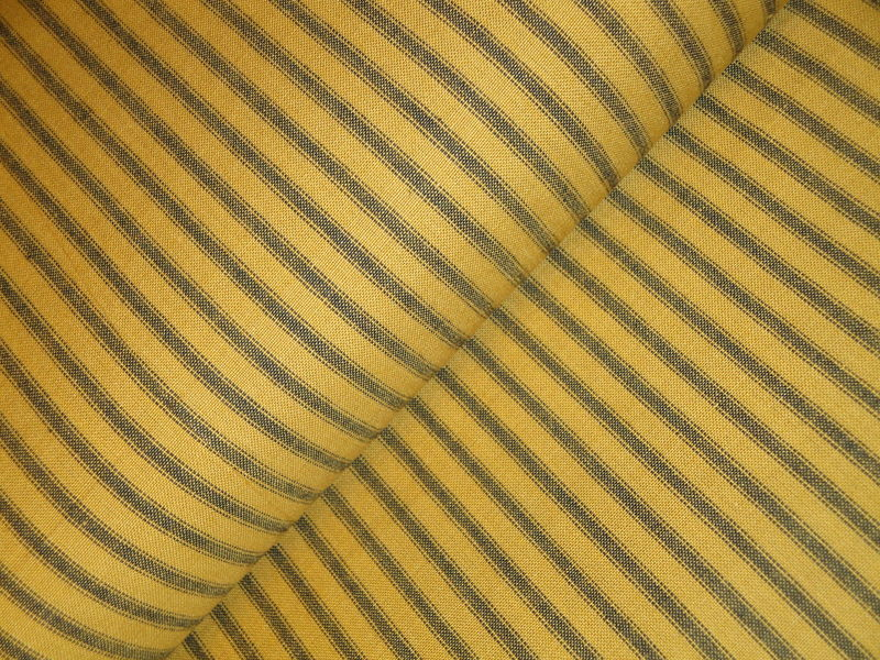 Mustard Woven Cotton Homespun Ticking Stripe Fabric 1 Yard - product image