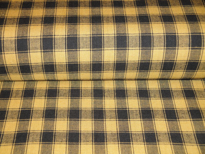 Mustard And Black Woven Cotton Homespun Large House Check Fabric 1 Yard - product image