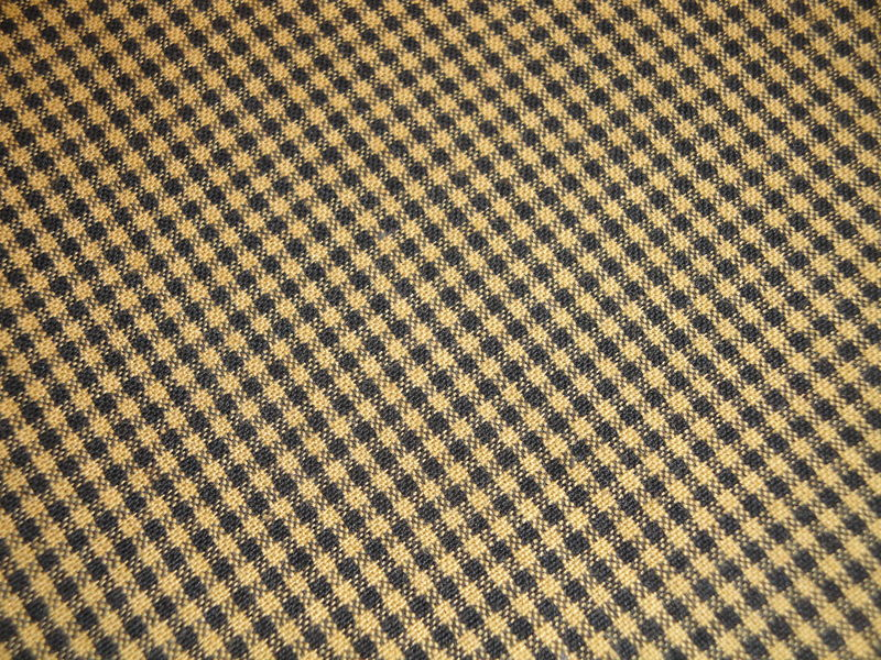 Mustard And Black Woven Cotton Homespun Small Check Fabric 1 Yard - product image