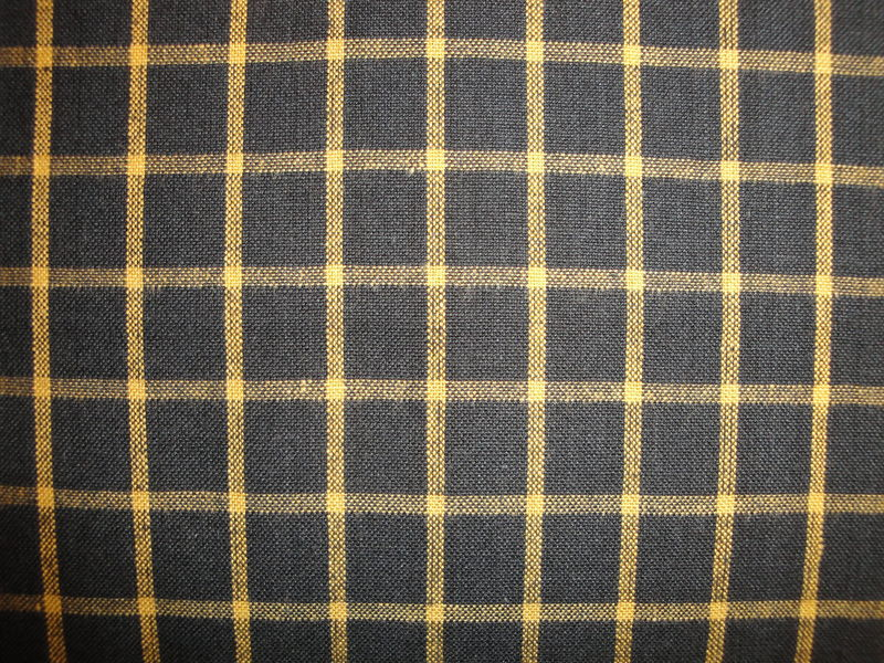 Black And Mustard Woven Cotton Homespun Window Pane Plaid Fabric 1 Yard - product image