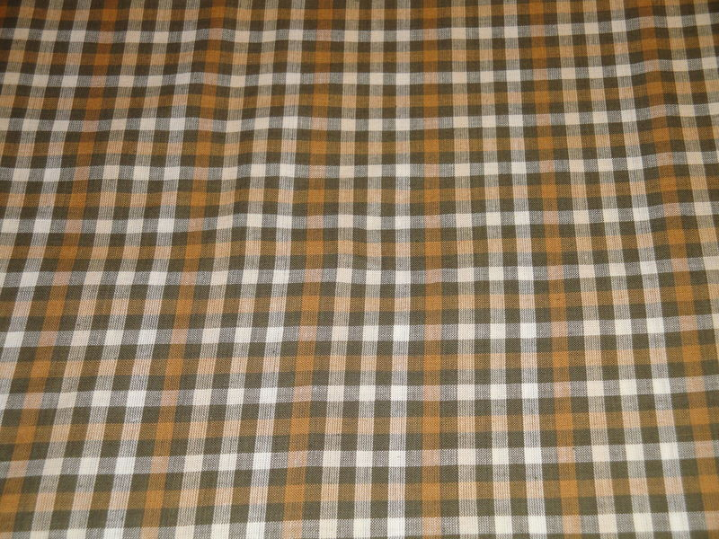 Brown And Natural Large Check Homespun Fabric Sold By The Yard - product image
