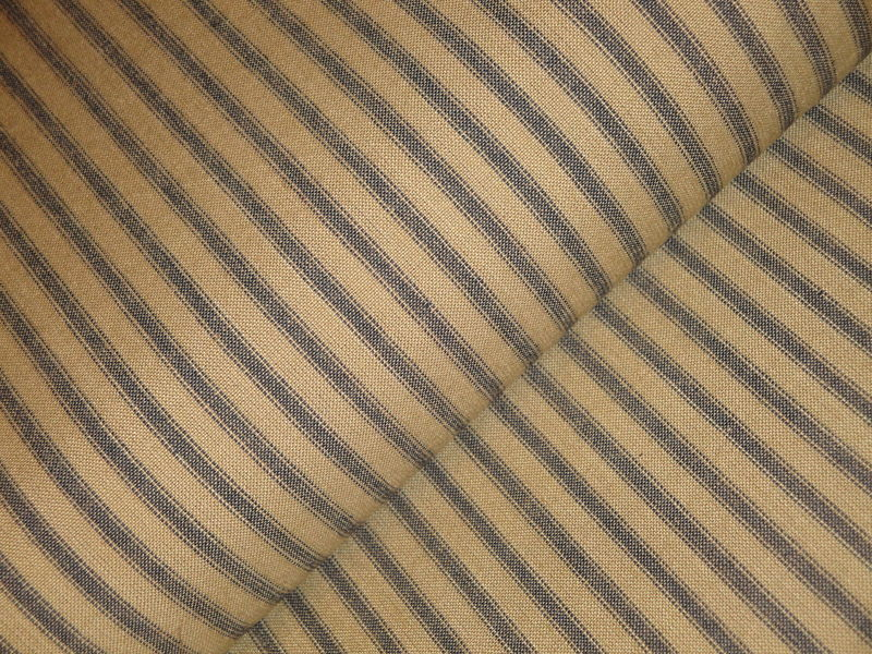 Tea Dye And Navy Blue Ticking Stripe Homespun Fabric  - product image