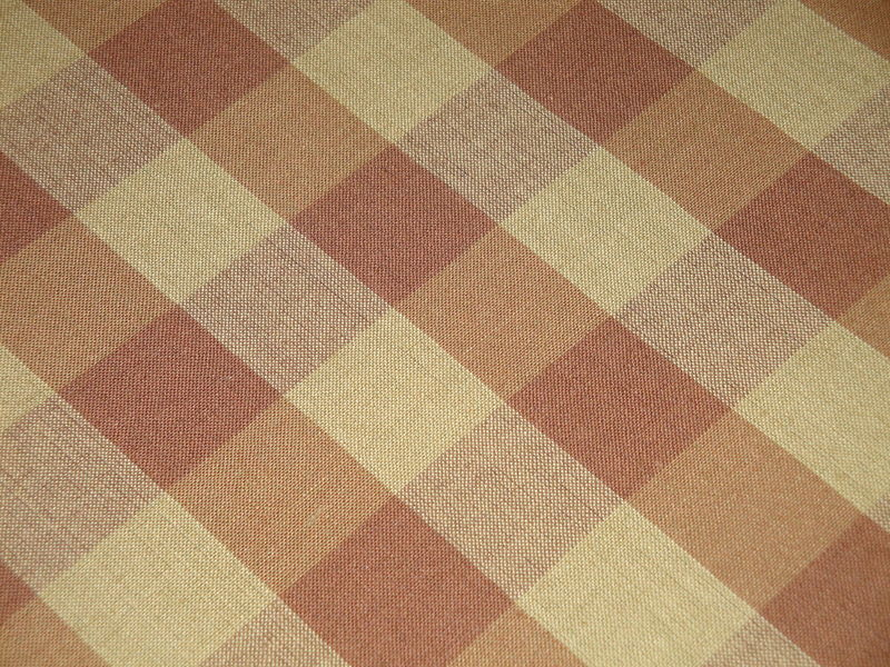 Brown And Tea Dye Cotton Homespun Buffalo Check Fabric  - product image