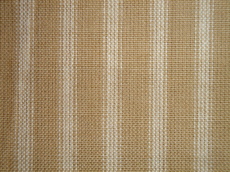 Wheat And Cream Cotton Homespun Ticking Stripe Fabric  - product image