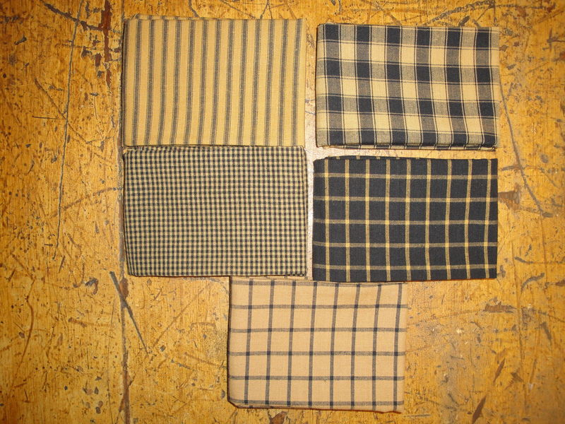 Mustard And Black Woven Cotton Homespun Fabric Fat Quarter Bundle Of 5 - product image