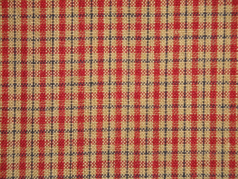 Red Blue Tea Dye Small Plaid Cotton Homespun Fabric  - product image