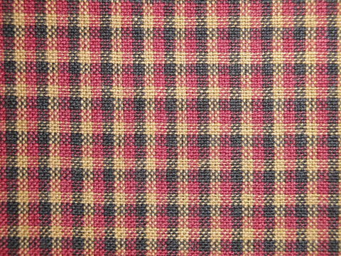 Red,Black,Tea,Dye,Colonial,Plaid,Cotton,Homespun,Fabric,Dunroven House H3312, plaid fabric, cotton plaid fabric, red black tan plaid fabric, home decor plaid fabric. primitive plaid fabric, curtain plaid fabric. bedding plaid fabric.