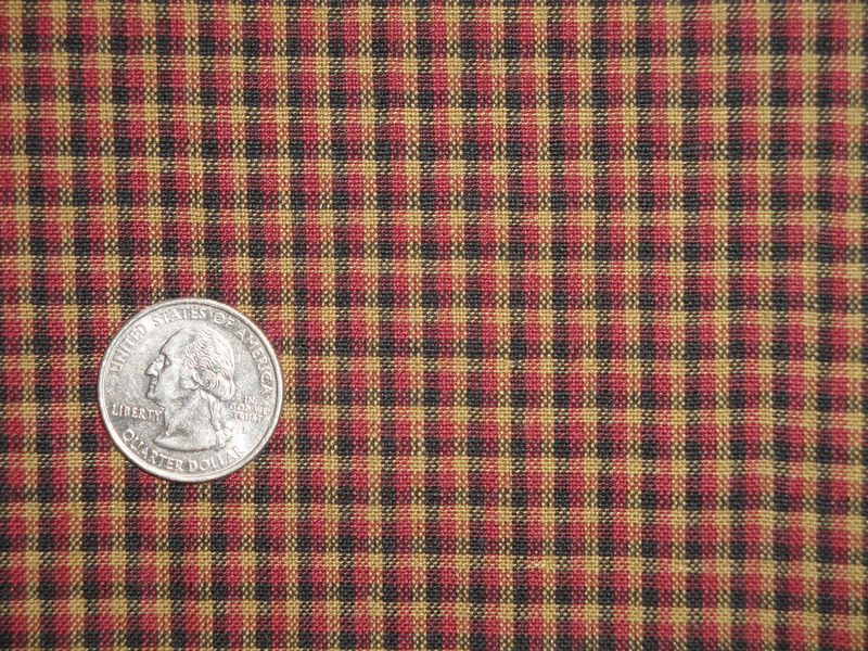 Red Black Tea Dye Colonial Plaid Cotton Homespun Fabric  - product image