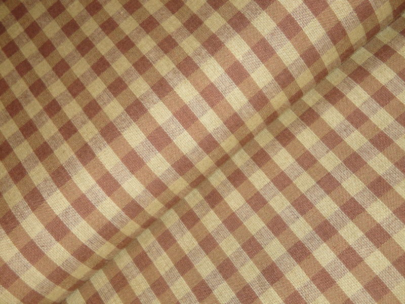 Brown And Tea Dye Large Check Cotton Homespun Fabric  - product image
