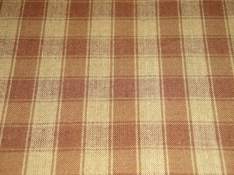 Brown And Tea Dye House Check Cotton Homespun Fabric  - product image