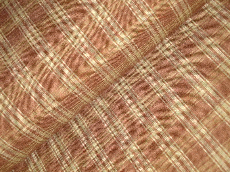 Brown And Tea Dye Plaid Cotton Homespun Fabric  - product image